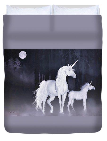 Unicorns In The Mist Duvet Cover