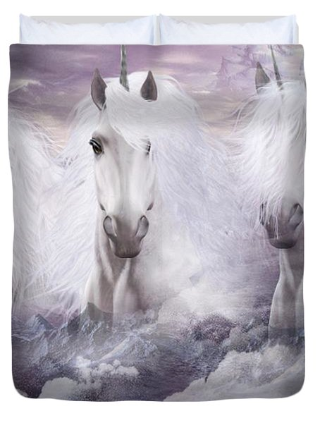 Unicorns Of The Mountains Duvet Cover