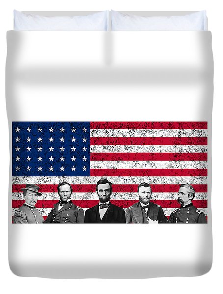 Union Heroes And The American Flag Duvet Cover