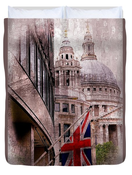 Union Jack By St. Paul's Cathdedral Duvet Cover