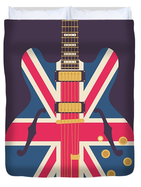 Union Jack Guitar - Original Black Duvet Cover