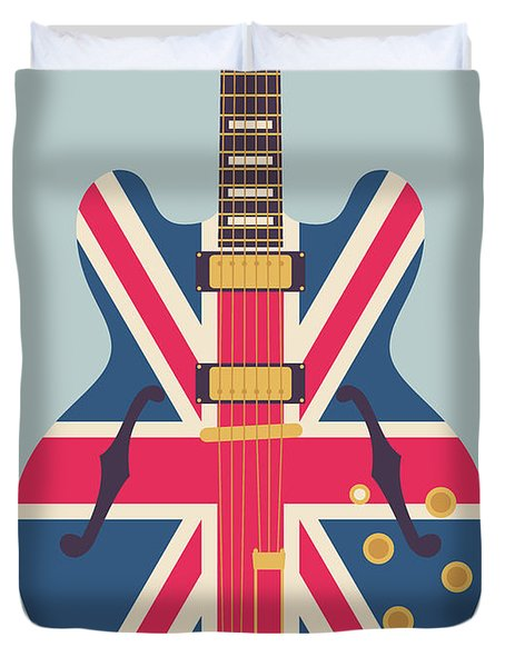 Union Jack Guitar - Original Grey Duvet Cover