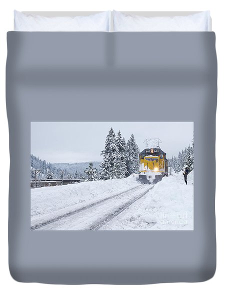Duvet Cover featuring the photograph Union Pacific #602 by Vinnie Oakes
