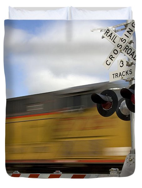 Union Pacific Coal Train Duvet Cover by David R Frazier and Photo Researchers
