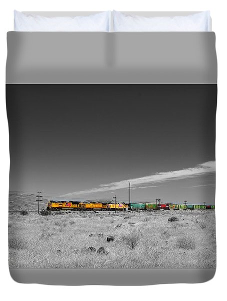 Union Pacific In Columbia Gorge Duvet Cover