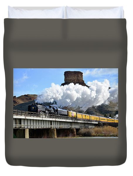 Union Pacific Steam Engine 844 And Castle Rock Duvet Cover by Eric Nielsen