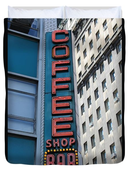 Union Square Coffee Shop Sign Duvet Cover