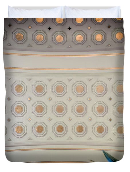 Duvet Cover featuring the photograph Union Station Ceiling Of Gold by Mark Dodd