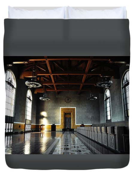 Duvet Cover featuring the photograph Union Station Los Angeles by Kyle Hanson