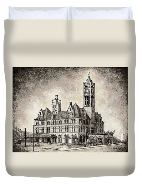 Union Station Mixed Media Duvet Cover