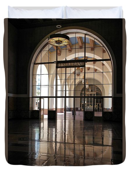 Duvet Cover featuring the photograph Union Station - Restaurant by Michele Myers