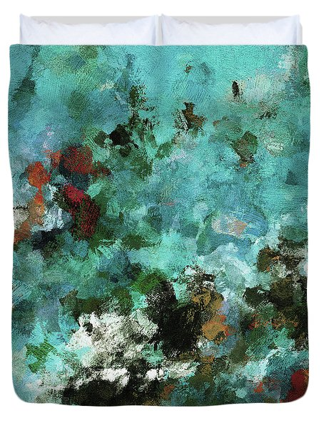 Duvet Cover featuring the painting Unique Abstract Art / Landscape Painting by Ayse Deniz