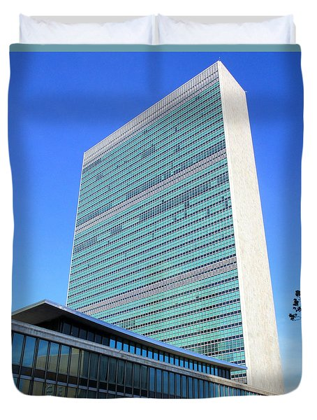 Duvet Cover featuring the photograph United Nations 1 by Randall Weidner