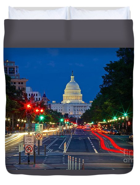 United States Capitol Along Pennsylvania Avenue In Washington, D.c.   Duvet Cover