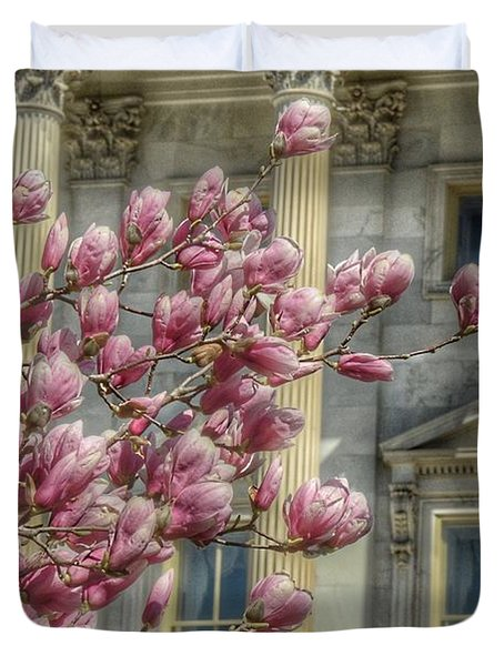 United States Capitol - Magnolia Tree Duvet Cover by Marianna Mills