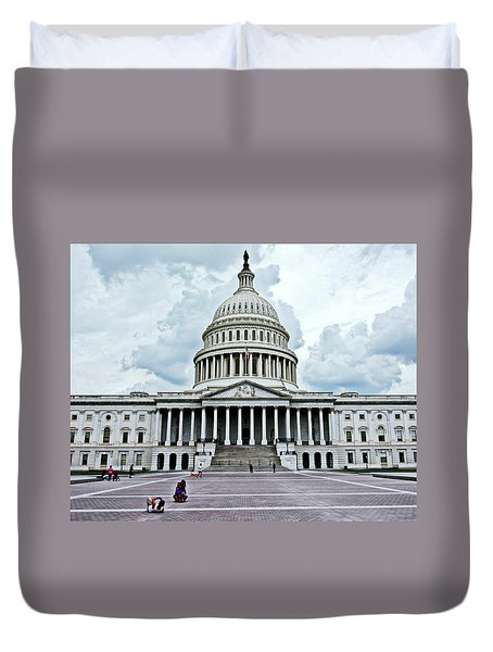 Duvet Cover featuring the photograph United States Capitol by Suzanne Stout