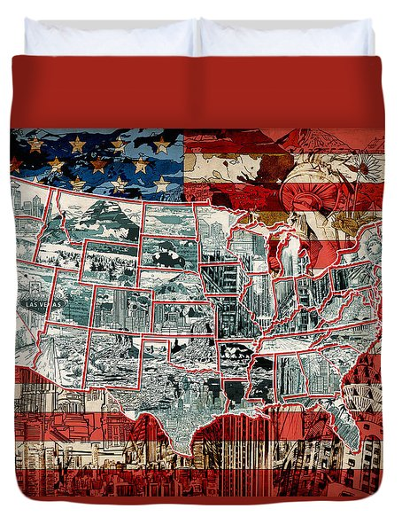 United States Drawing Collage Map 6 Duvet Cover