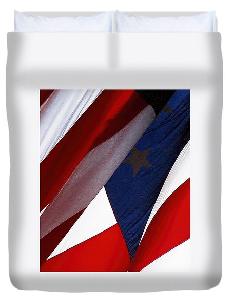 United States Flag Abstract Duvet Cover
