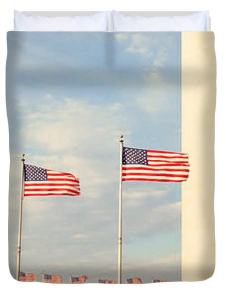 United States Flags At The Base Duvet Cover by Panoramic Images