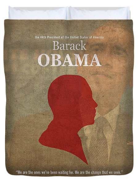 United States Of America President Barack Obama Facts Portrait And Quote Poster Series Number 44 Duvet Cover by Design Turnpike