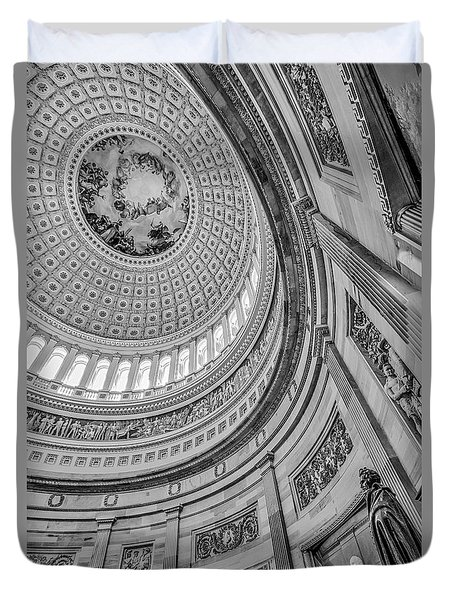 Duvet Cover featuring the photograph Unites States Capitol Rotunda Bw by Susan Candelario