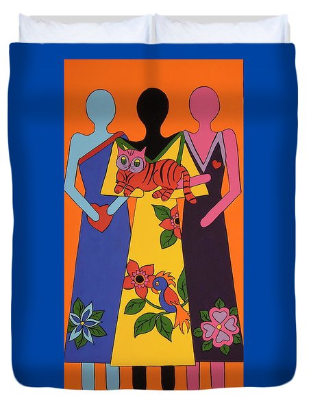 Duvet Cover featuring the painting Unity 6 by Stephanie Moore