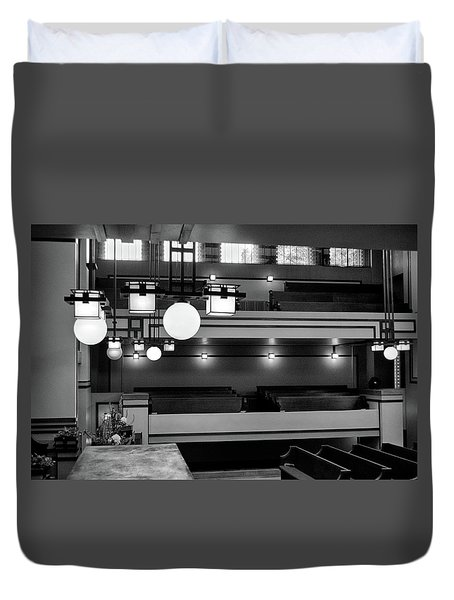 Unity Temple Interior Black And White Duvet Cover