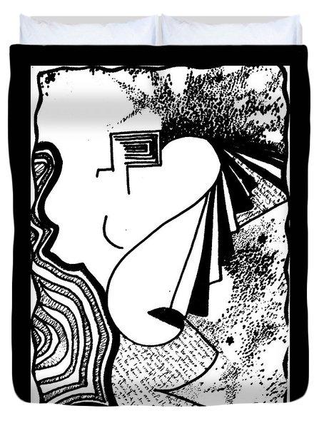 Universal Feminine In Black And White Duvet Cover