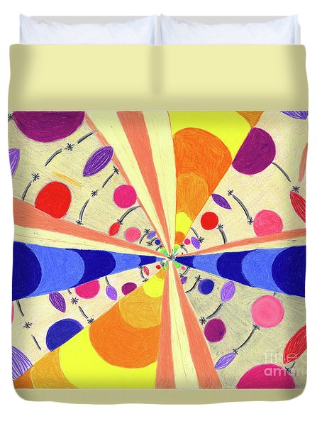 Duvet Cover featuring the drawing Universals by Kim Sy Ok