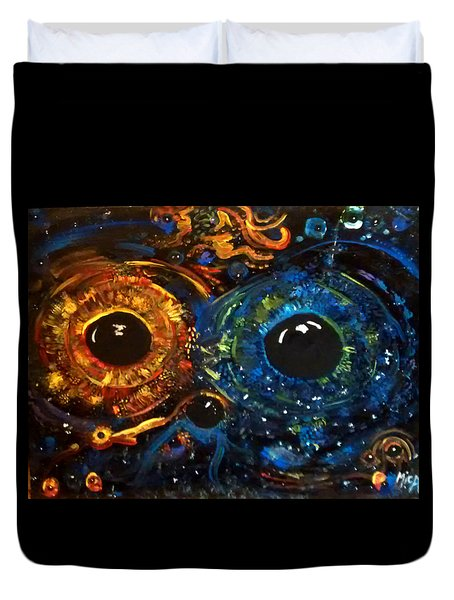 Duvet Cover featuring the painting Universe Watching by Michelle Audas