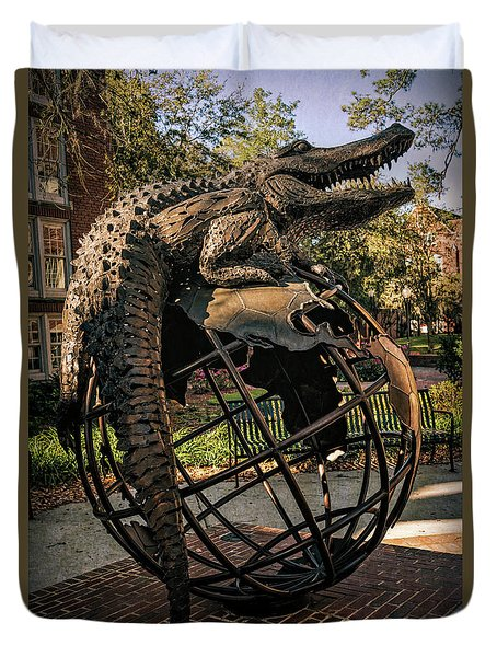 Duvet Cover featuring the photograph University Of Florida Sculpture by Joan Carroll