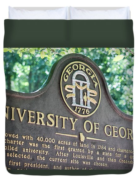 Duvet Cover featuring the photograph University Of Georgia Sign by Parker Cunningham