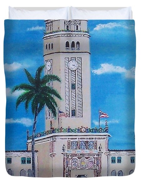 University Of Puerto Rico Tower Duvet Cover by Luis F Rodriguez