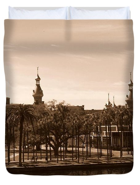 University Of Tampa With River - Sepia Duvet Cover by Carol Groenen