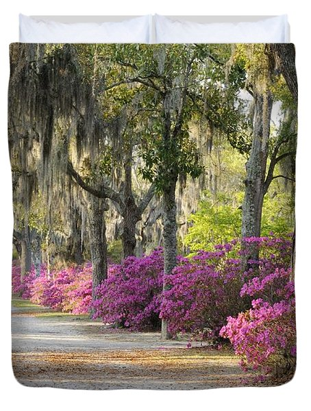 Unpaved Road With Azaleas And Oaks Duvet Cover
