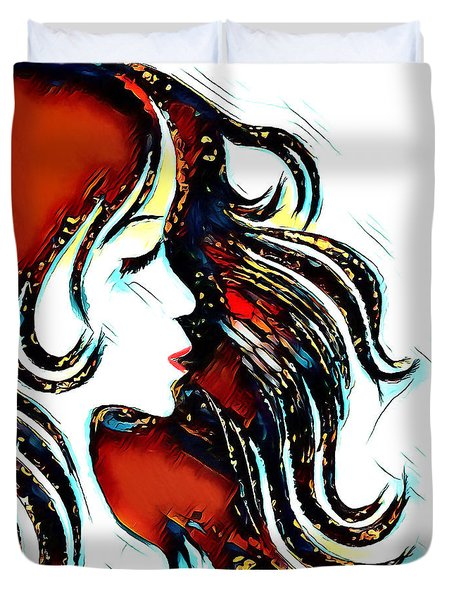 Duvet Cover featuring the digital art Unrestricted-abstract by Pennie McCracken