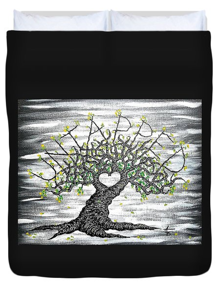 Duvet Cover featuring the drawing Untapped Love Tree by Aaron Bombalicki