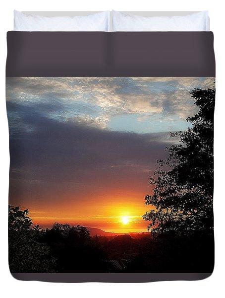 Until We Meet Again- Oregon Sunset Duvet Cover by Janie Johnson