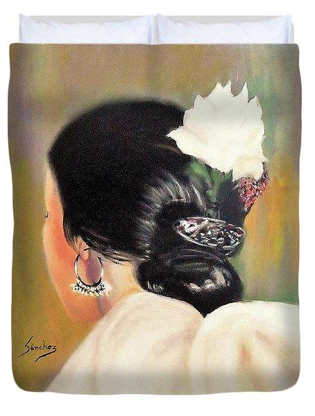 Untitled Dancer With White Flower Duvet Cover by Manuel Sanchez