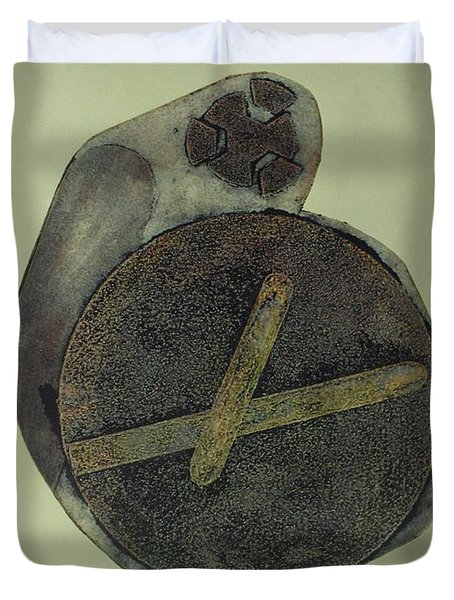 Duvet Cover featuring the mixed media Untitled by Erika Chamberlin
