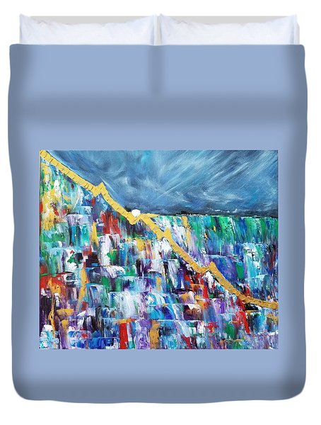 Duvet Cover featuring the painting Untitled by Judith Rhue