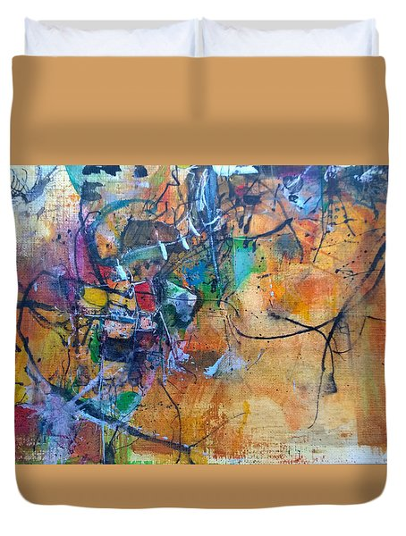 Duvet Cover featuring the painting Untitled Or Ink Flow by Robert Anderson