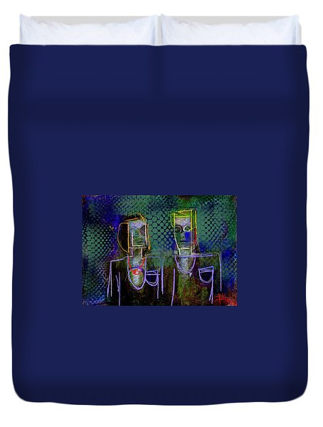 Duvet Cover featuring the painting Untitled Portrait June 6 2015 by Jim Vance