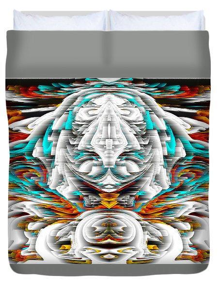 Duvet Cover featuring the digital art 992.042212mirrorornategoldvert-2-c by Kris Haas