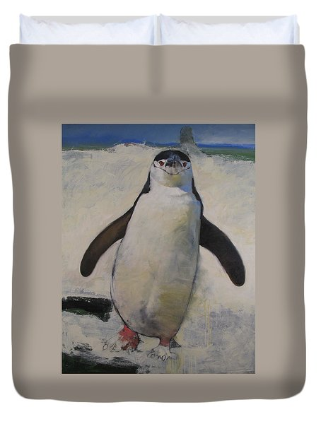 Duvet Cover featuring the painting Untitled Unfinished Chinstrap by Cliff Spohn