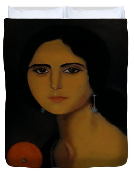 Untitled Woman With Orange Duvet Cover