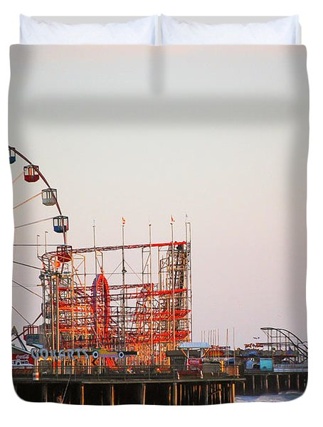 Funtown And Casino Amusement Pier In Seaside Park And Seaside Heights Nj Duvet Cover