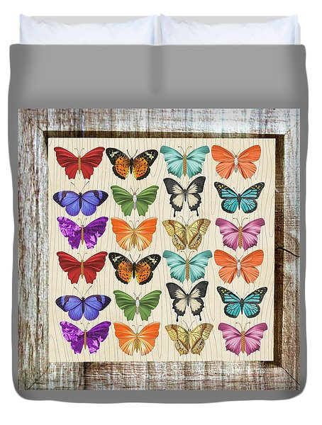 Unusual Colourful Butterfly Collage Duvet Cover