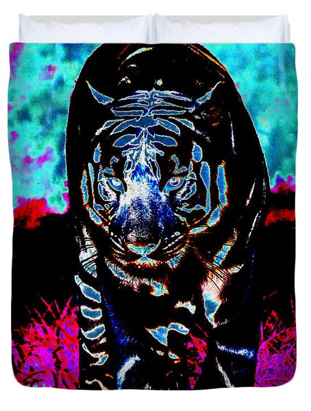 Duvet Cover featuring the photograph Unusual Tiger On The Prowl by Maggy Marsh
