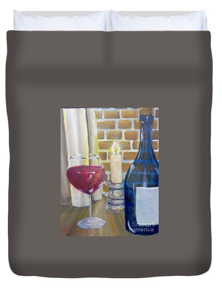 Duvet Cover featuring the painting Unwind by Saundra Johnson
